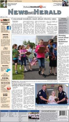La prima pagina del News Herald edizione di Perkasie (Pennsylvania)